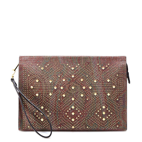 Etro Studded Paisley Print Clutch Bag