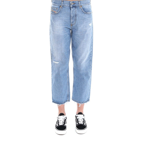 Diesel Aryel Cropped Distressed Detail Jeans