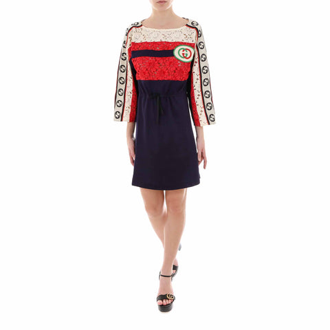 Gucci Contrasting Panelled Lace Dress