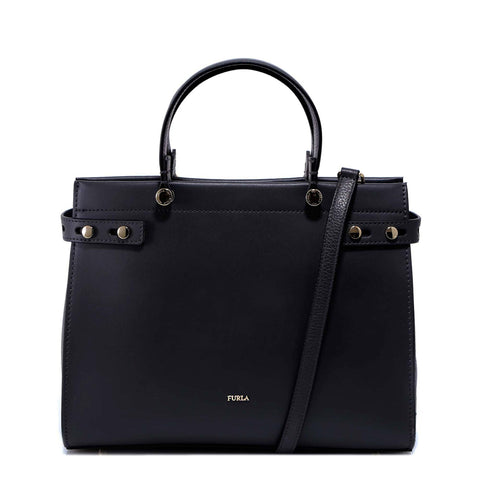 Furla Lady M Logo Embossed Tote Bag