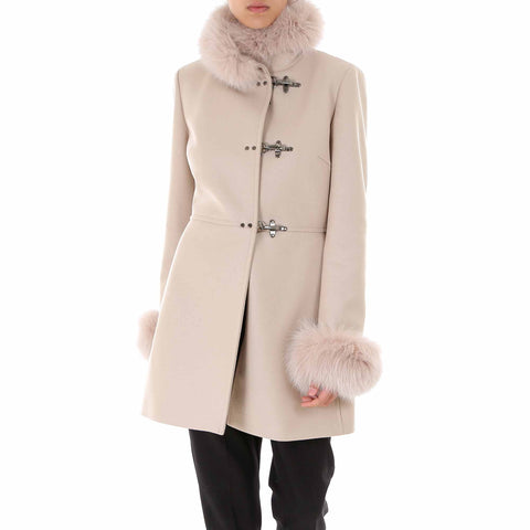 Fay Fur Trim Duffel Coat