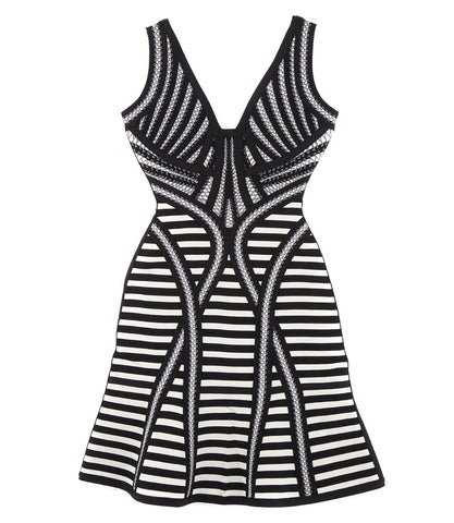 Herve Leger 'Milana' Stripe Lacing Detail Cocktail Dress
