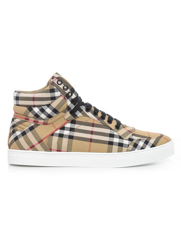 Burberry Checked High-Top Lace-Up Sneakers