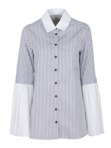 Monographie Stripped Pleated Sleeve Shirt