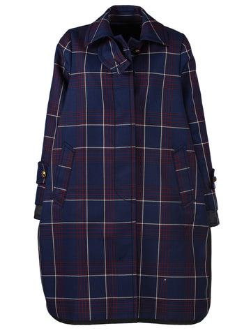 Sacai Plaid Trench Style Coat