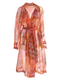 Dries Van Noten Printed Sheer Belted Coat
