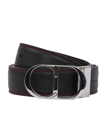 Dior Homme Red Stitched Logo Buckle Belt