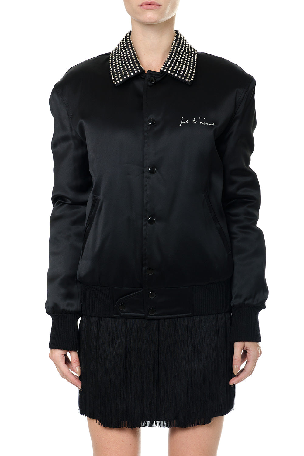 SAINT LAURENT JE T'AIME EMBELLISHED COLLAR BOMBER JACKET