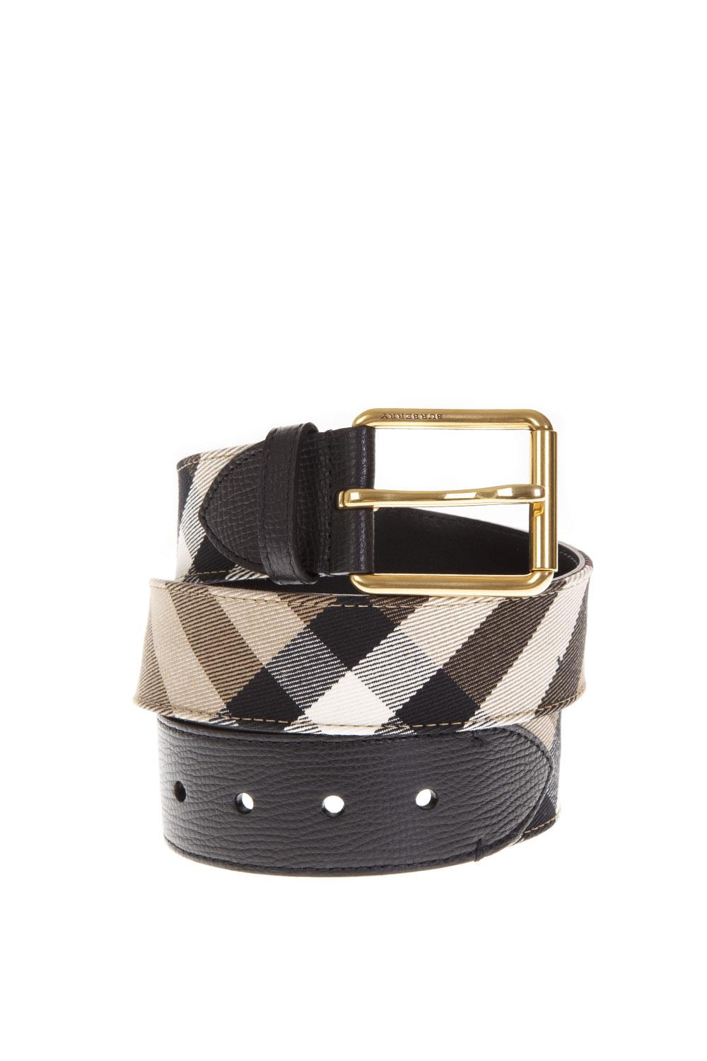 Burberry House Check Leather Belt in Black