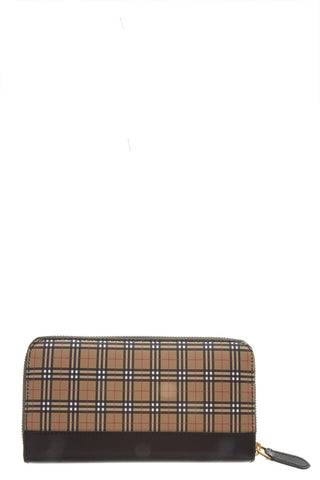 Burberry Check Print Continental Zip Around Wallet