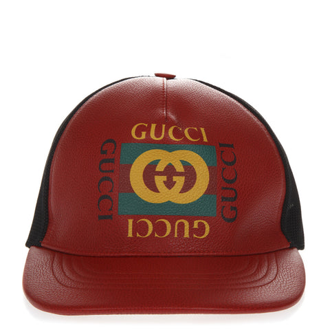 Gucci Logo Leather Baseball Cap