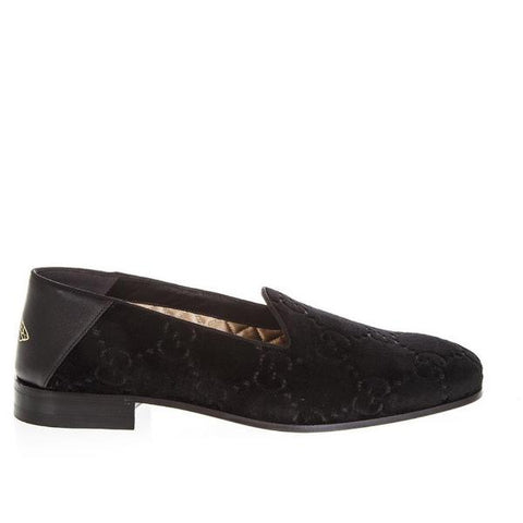Gucci Velvet Monogram Loafers
