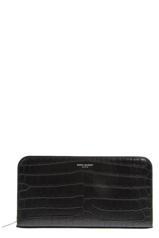Saint Laurent Croc Embossed Wallet