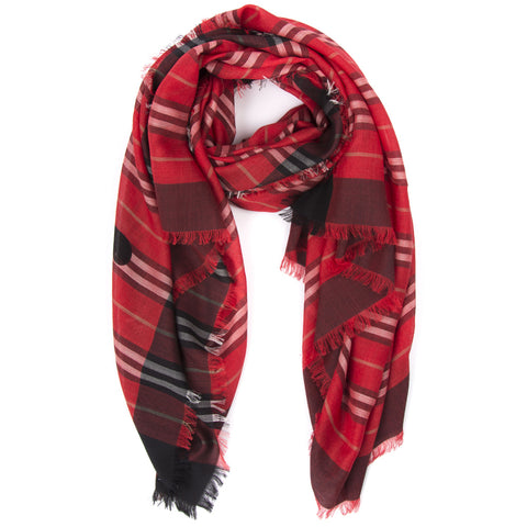 Burberry Logo Monogram Fringed Scarf