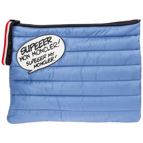 Moncler Slogan Patch Quilted Clutch Bag