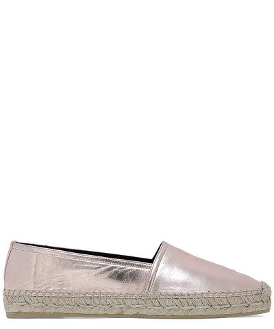 Saint Laurent Metallic Embossed Logo Espadrilles