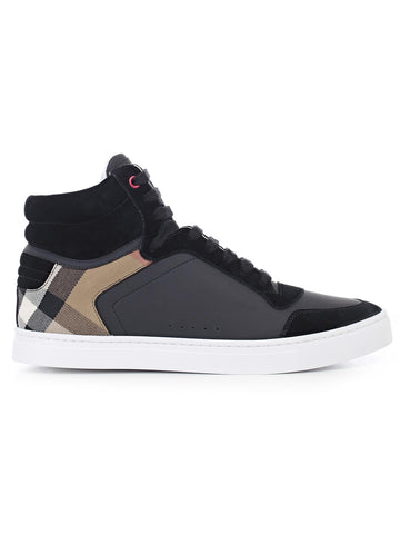 Burberry Check Paneled Hi-Top Sneakers