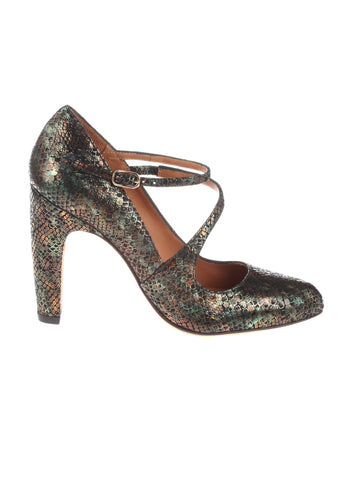 Che Mihara Dearly Snakeskin Heeled Pumps