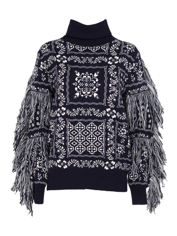 Sacai Embroidered Roll Neck Jumper
