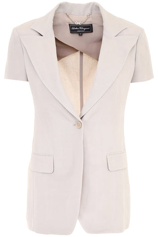 Salvatore Ferragamo One Button Short Sleeve Jacket
