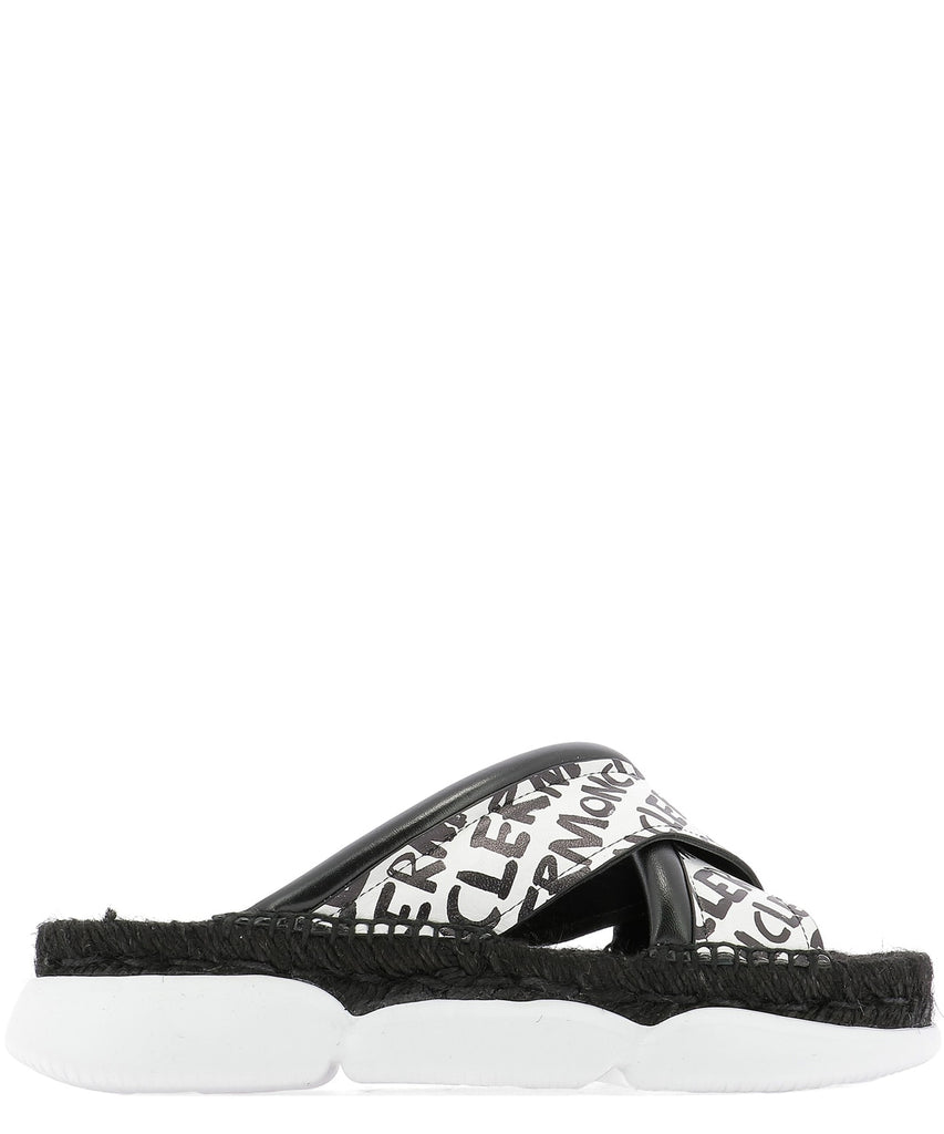 Moncler Logo Criss-Cross Slides