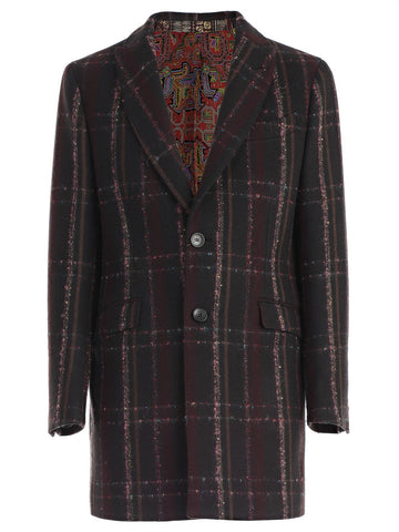Etro Check-Print Long Buttoned Coat