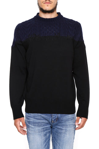 Sacai Colour Block Contrast Knit Sweater
