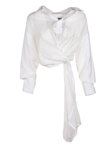 Jacquemus Cropped Wrap Blouse