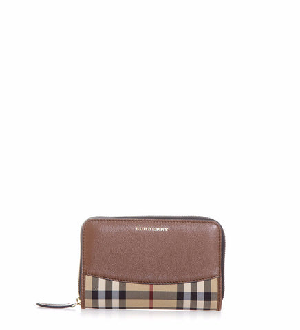 Burberry Marston Leather & Check Printed Fabric Wallet