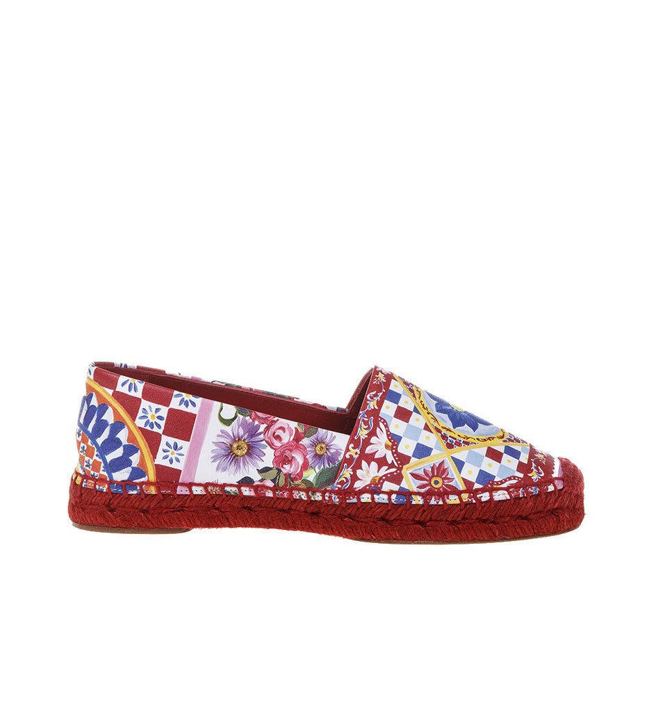 Dolce & Gabbana 'Maiolica' Printed Leather Espadrilles