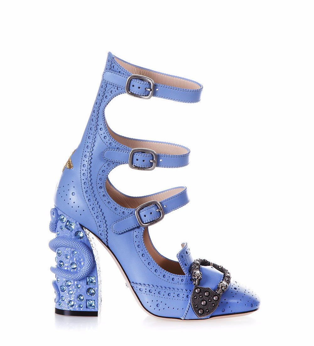 Gucci Queercore Buckle Heeled Pumps, Blue