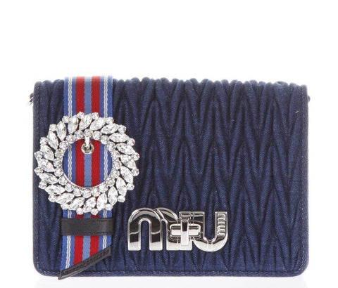 Miu Miu Matelassé Denim Crossbody Bag