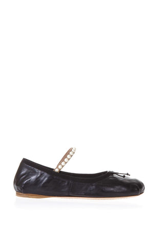 Miu Miu Pearl Strap Leather Ballerinas