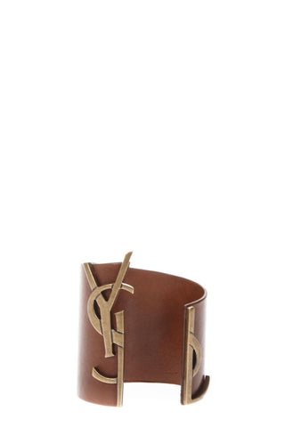Saint Laurent Logo Leather Bangle
