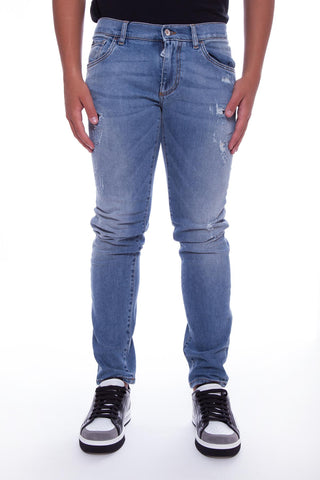 Dolce & Gabbana Ripped Effect Straight Leg Jeans