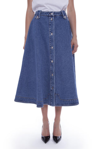 MSGM Buttoned Denim Midi Skirt