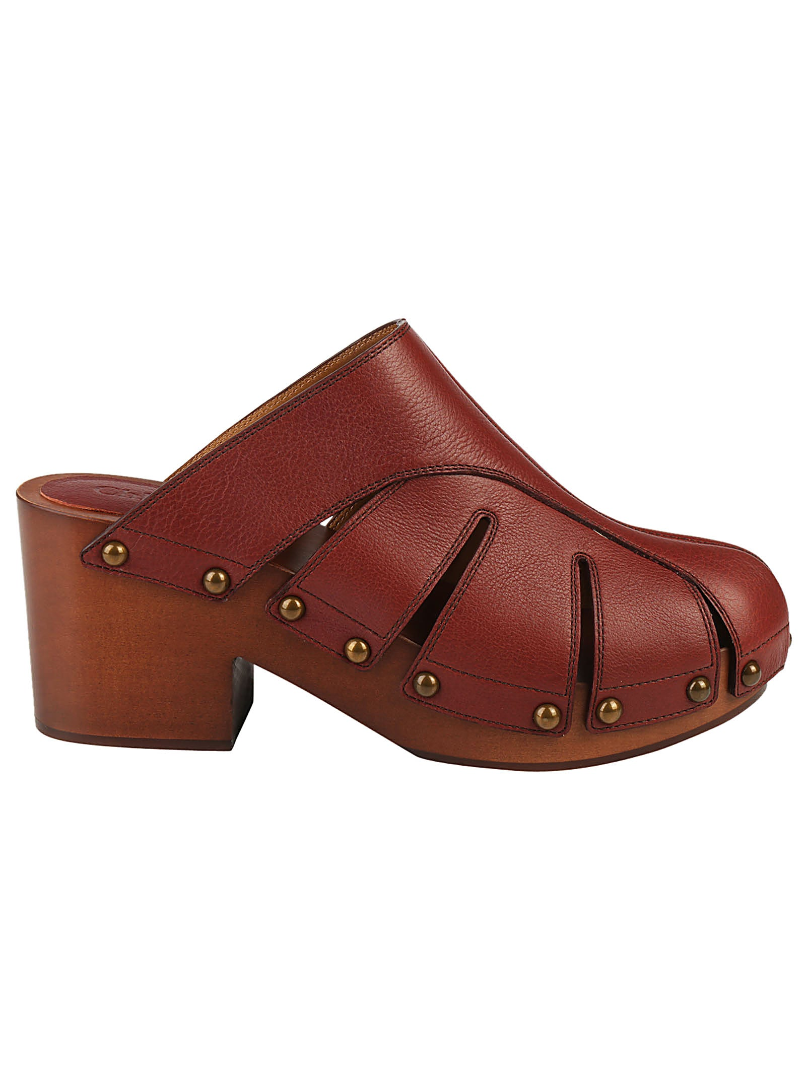 CHLOÉ LEATHER WOODEN SOLE SANDALS