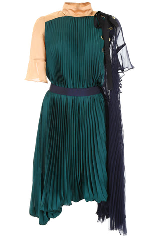 Sacai Colour Block Pleated Dress