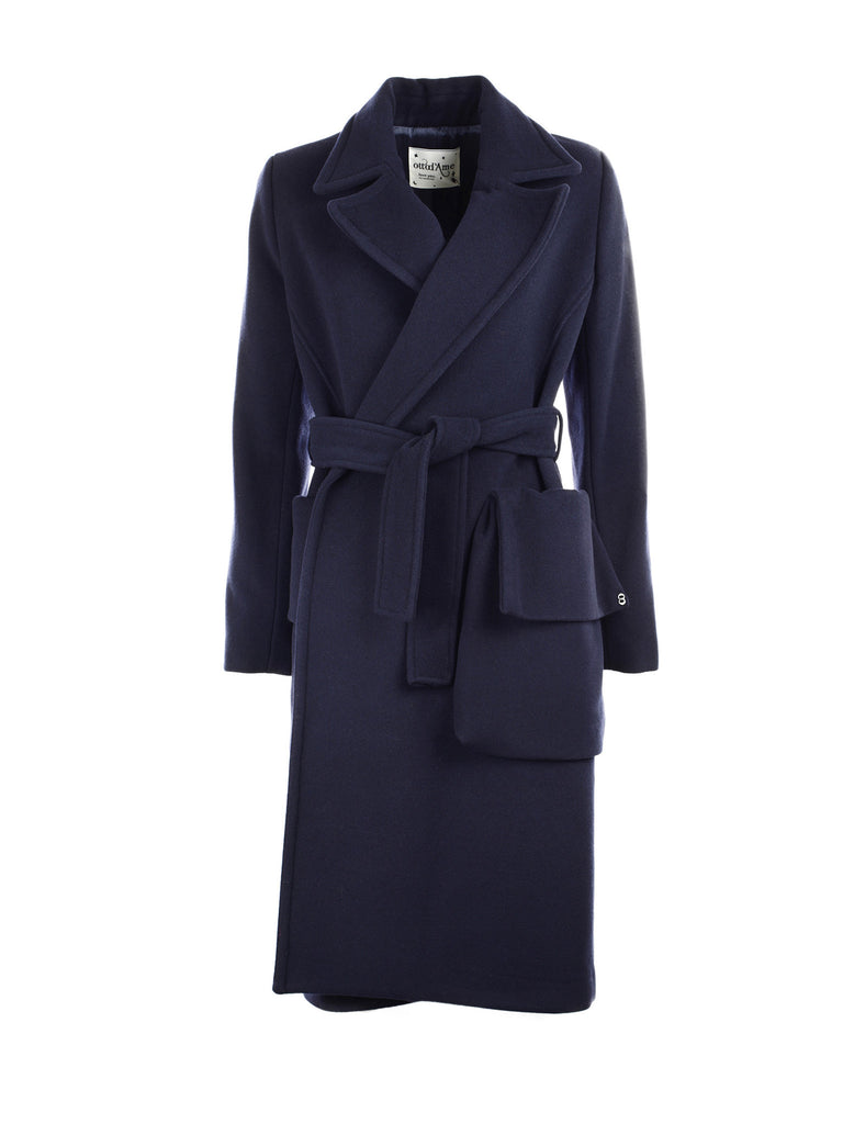 ottod'Ame belted coat with maxi side pockets