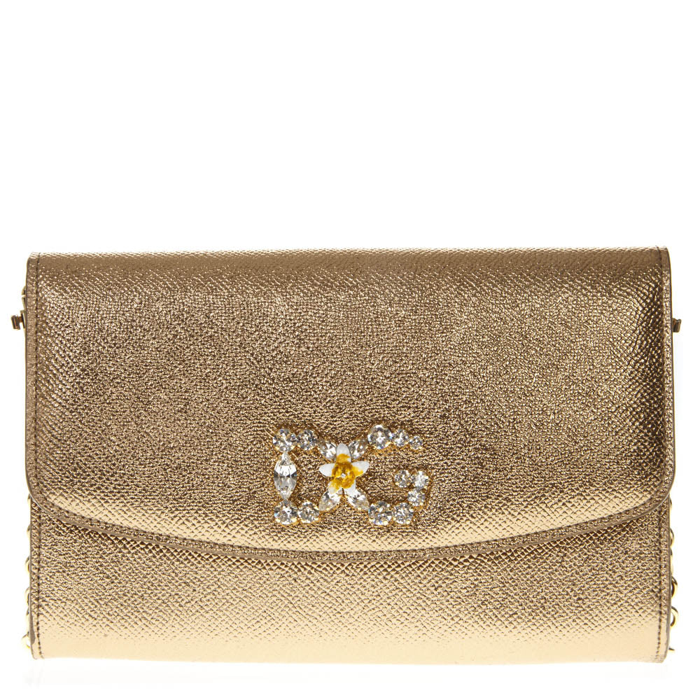 Dolce   Gabbana Flower Logo Metallic Shoulder Bag – Cettire d3dfe74f24f07
