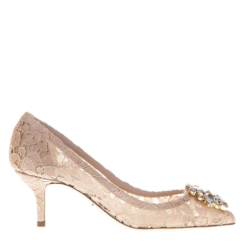 Dolce & Gabbana Crystal Embellished 70 Lace Pumps
