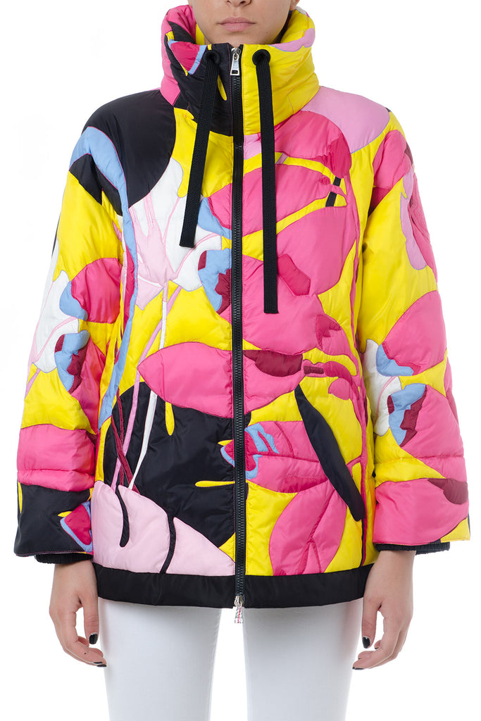 096cd3377 Moncler Flower Print Zip-Front Puffer Jacket
