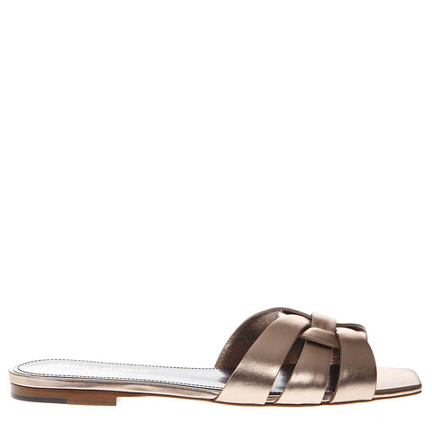 Saint Laurent Tribute Metallic Leather Flat Sandals