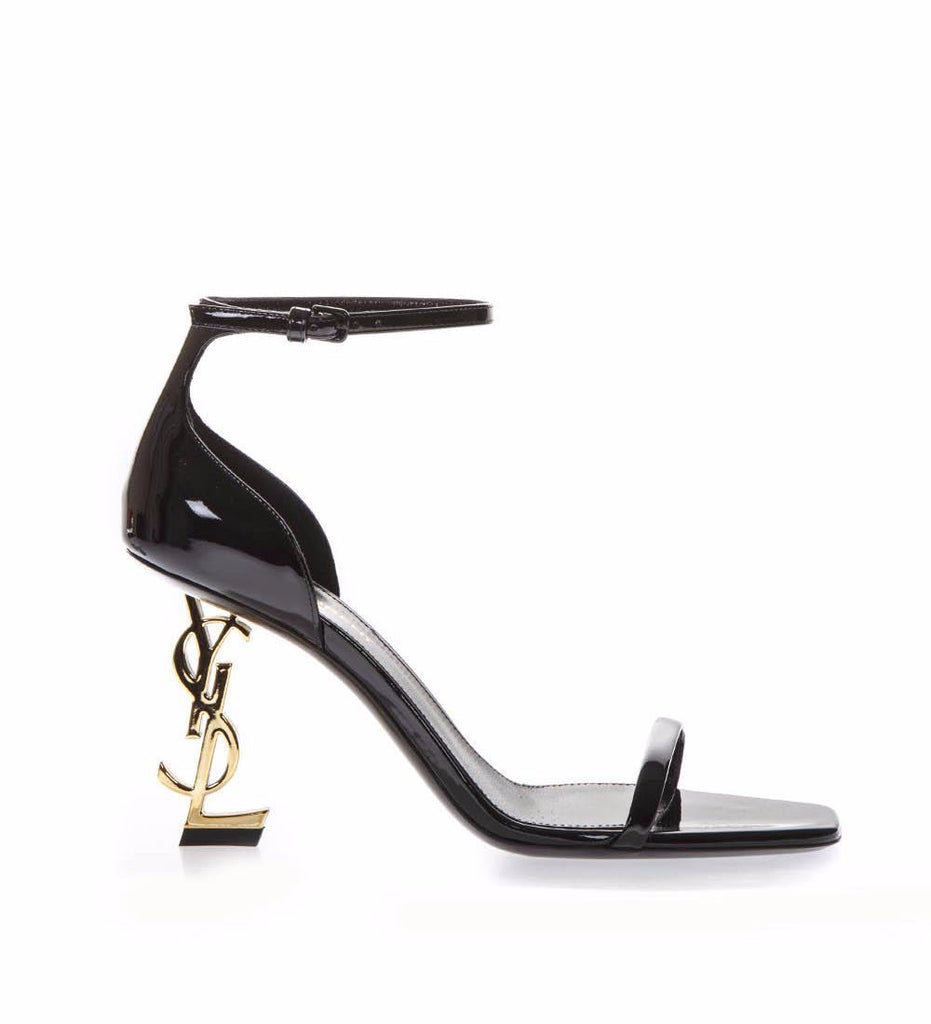 Saint Laurent Patent YSL Heel Sandals