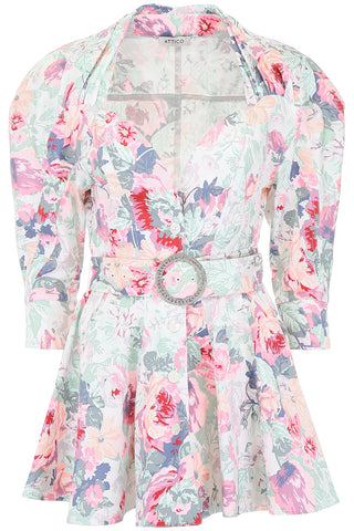 Attico Floral Printed Belted Dress