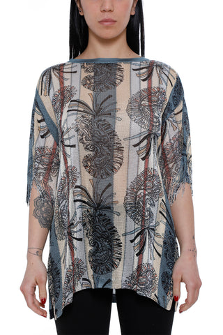 Etro Printed Fringed Sleeve Top