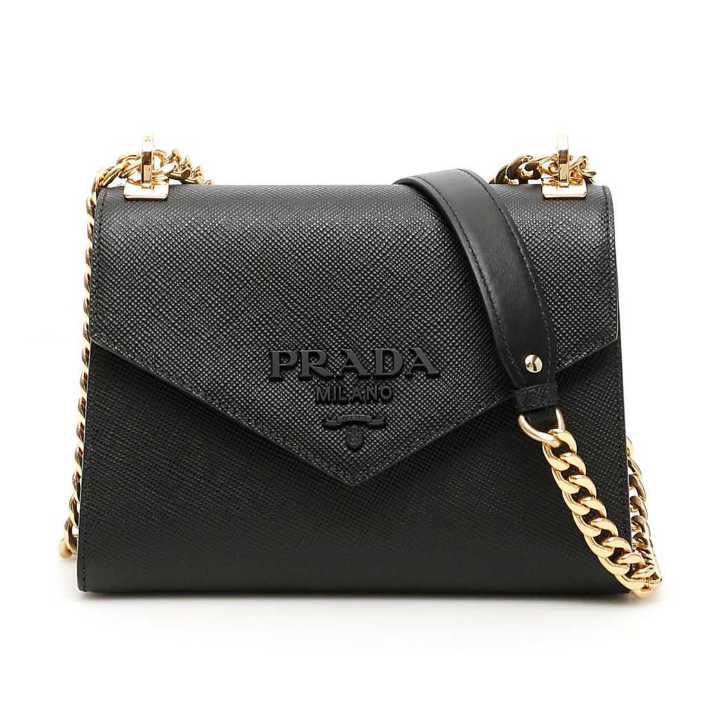 Prada Saffiano Fold-Over Shoulder Bag