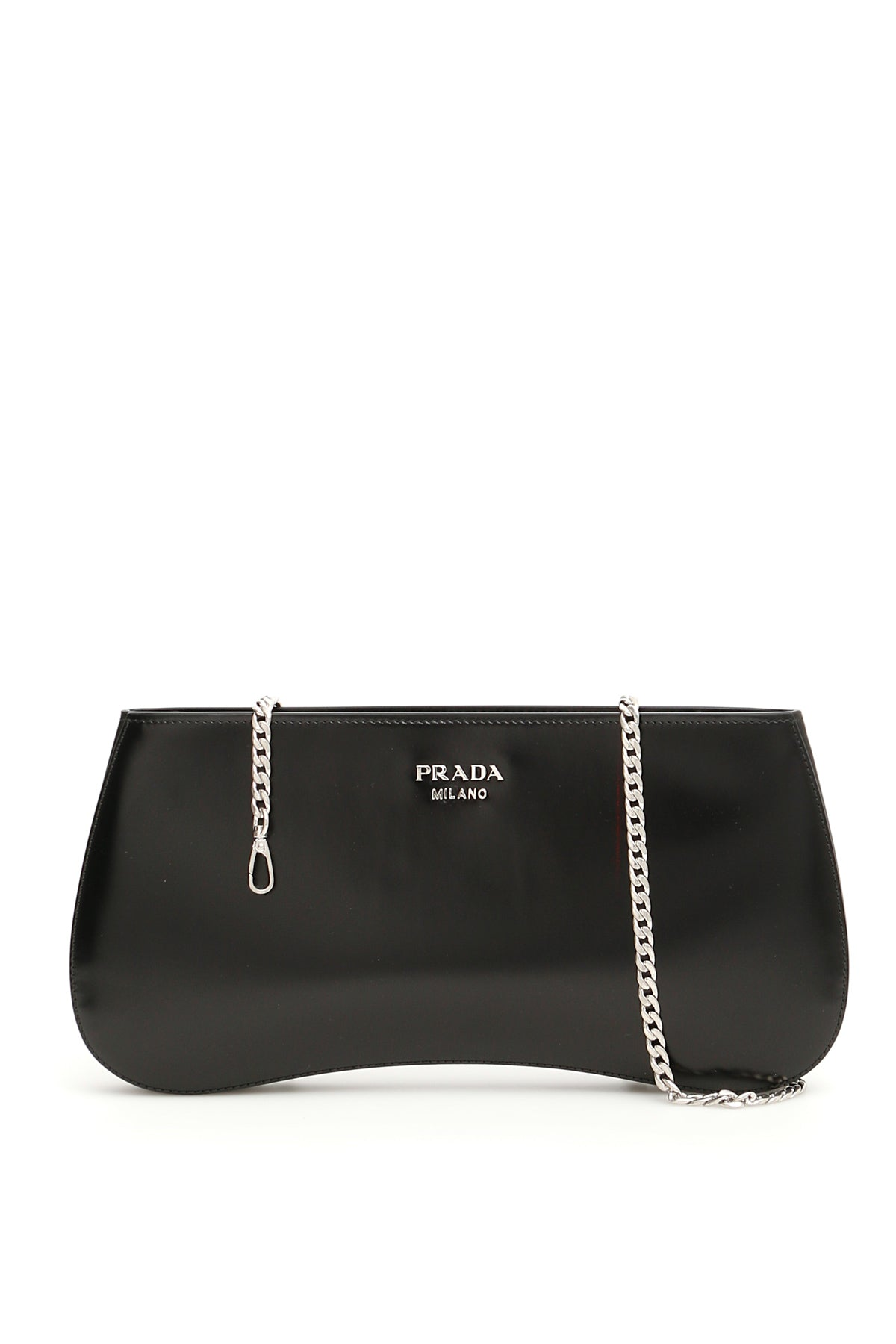 7f608ca764ca Prada Brushed Chain Strap Clutch Bag In Black | ModeSens
