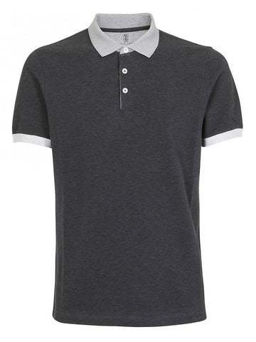 Brunello Cucinelli Contrasting Trim Polo Shirt