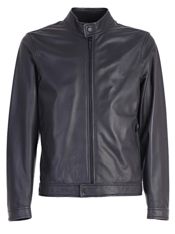 Z Zegna Zipped Leather Jacket